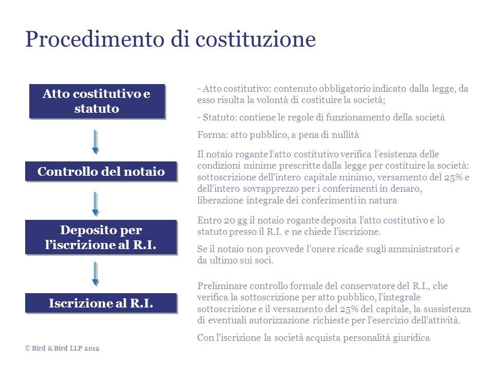© Bird & Bird LLP 2012 Procedimento di costituzione Atto costitutivo e statuto - Atto costitutivo: contenuto obbligatorio indicato dalla legge, da ess