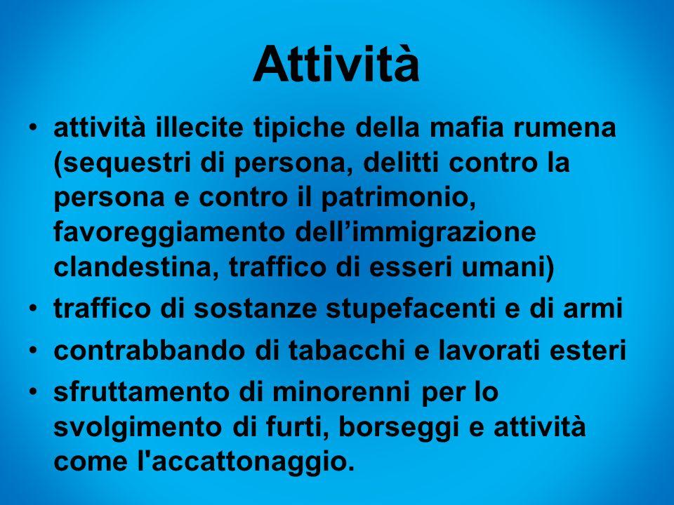Attività attività illecite tipiche della mafia rumena (sequestri di persona, delitti contro la persona e contro il patrimonio, favoreggiamento dellimm