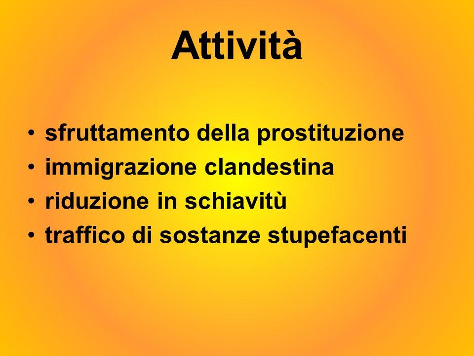 Attività sfruttamento della prostituzione immigrazione clandestina riduzione in schiavitù traffico di sostanze stupefacenti