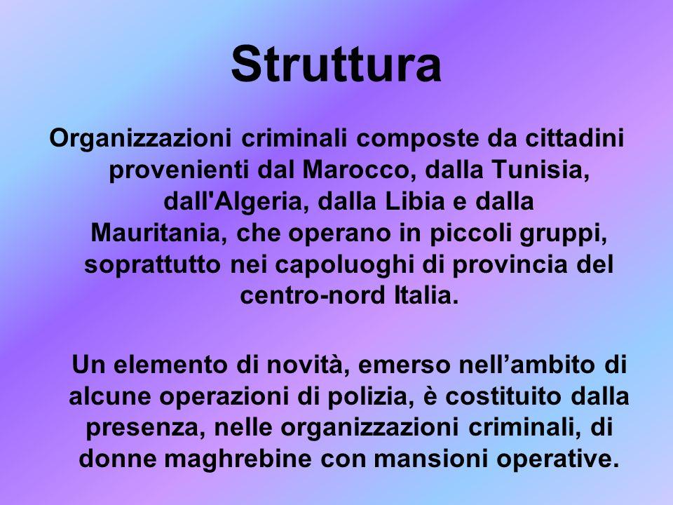 Struttura Organizzazioni criminali composte da cittadini provenienti dal Marocco, dalla Tunisia, dall'Algeria, dalla Libia e dalla Mauritania, che ope
