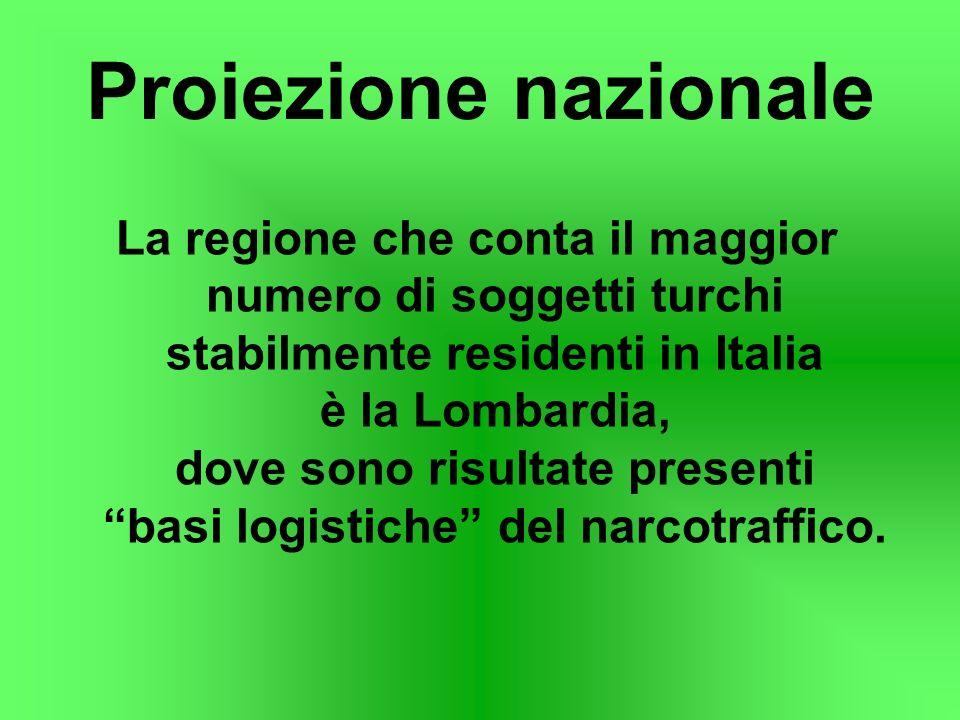 Proiezione nazionale La regione che conta il maggior numero di soggetti turchi stabilmente residenti in Italia è la Lombardia, dove sono risultate pre