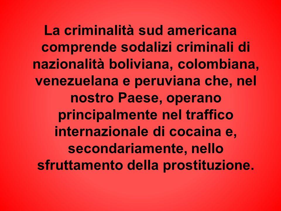 La criminalità sud americana comprende sodalizi criminali di nazionalità boliviana, colombiana, venezuelana e peruviana che, nel nostro Paese, operano