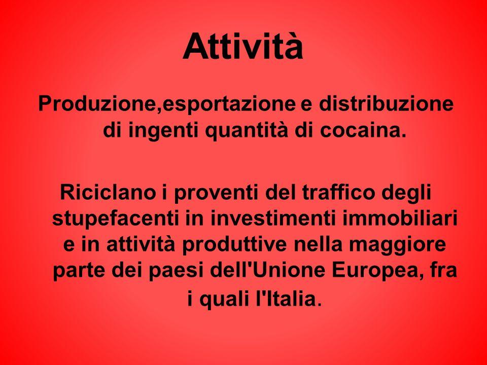 Attività Produzione,esportazione e distribuzione di ingenti quantità di cocaina. Riciclano i proventi del traffico degli stupefacenti in investimenti