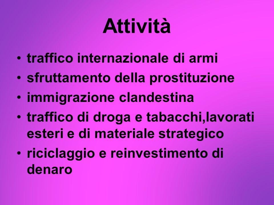 Attività traffico internazionale di armi sfruttamento della prostituzione immigrazione clandestina traffico di droga e tabacchi,lavorati esteri e di m