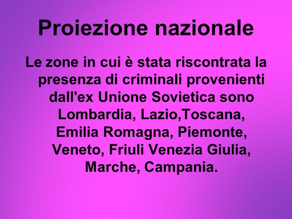 Proiezione nazionale Le zone in cui è stata riscontrata la presenza di criminali provenienti dall'ex Unione Sovietica sono Lombardia, Lazio,Toscana, E