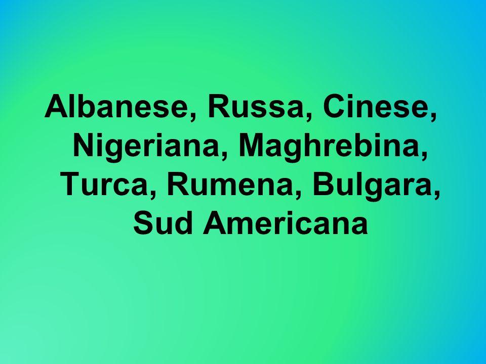 Albanese, Russa, Cinese, Nigeriana, Maghrebina, Turca, Rumena, Bulgara, Sud Americana
