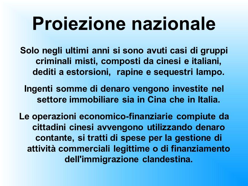Proiezione nazionale Solo negli ultimi anni si sono avuti casi di gruppi criminali misti, composti da cinesi e italiani, dediti a estorsioni, rapine e