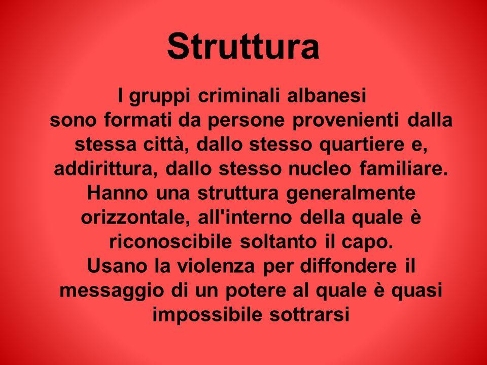 Struttura I gruppi criminali albanesi sono formati da persone provenienti dalla stessa città, dallo stesso quartiere e, addirittura, dallo stesso nucl