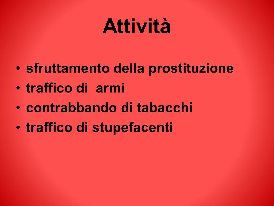 Attività sfruttamento della prostituzione traffico di armi contrabbando di tabacchi traffico di stupefacenti