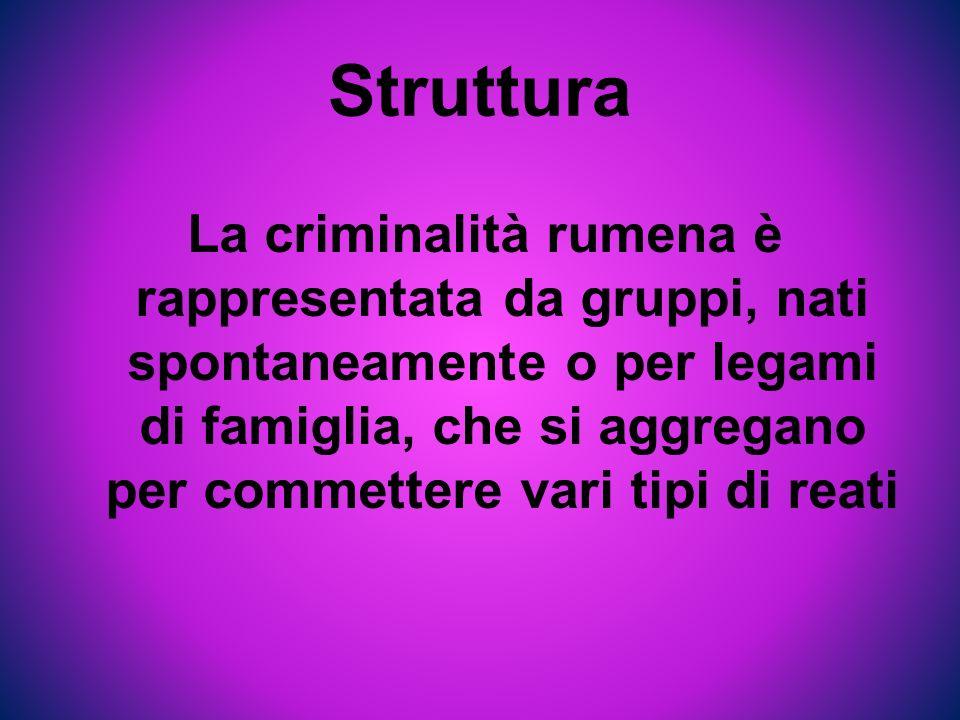 Struttura La criminalità rumena è rappresentata da gruppi, nati spontaneamente o per legami di famiglia, che si aggregano per commettere vari tipi di