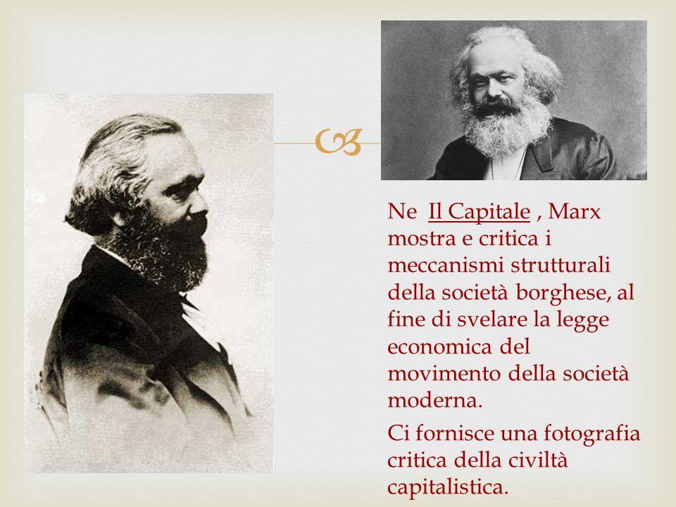 Ne Il Capitale, Marx mostra e critica i meccanismi strutturali della società borghese, al fine di svelare la legge economica del movimento della socie