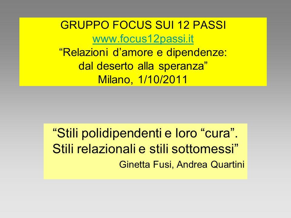 GRUPPO FOCUS SUI 12 PASSI www.focus12passi.it Relazioni damore e dipendenze: dal deserto alla speranza Milano, 1/10/2011 www.focus12passi.it Stili pol