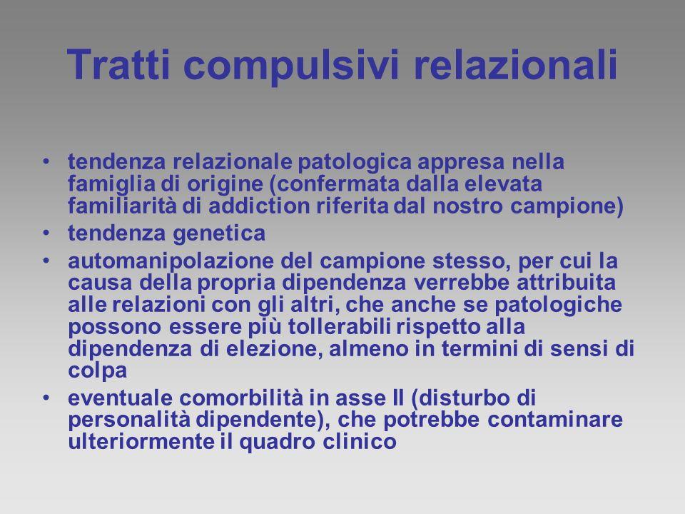 Tratti compulsivi relazionali tendenza relazionale patologica appresa nella famiglia di origine (confermata dalla elevata familiarità di addiction rif