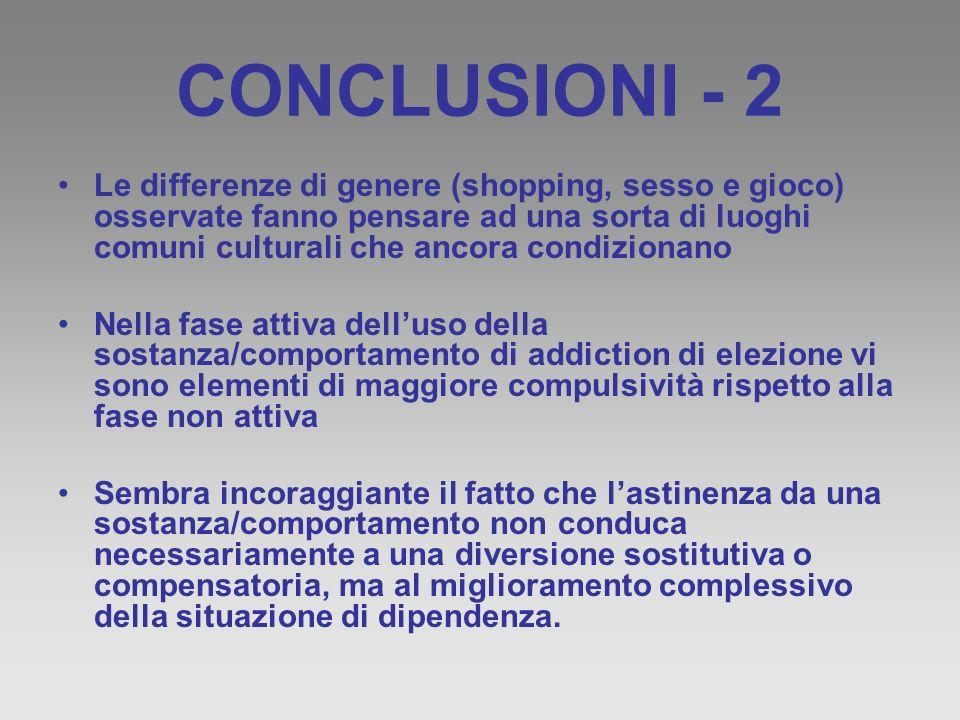 CONCLUSIONI - 2 Le differenze di genere (shopping, sesso e gioco) osservate fanno pensare ad una sorta di luoghi comuni culturali che ancora condizion