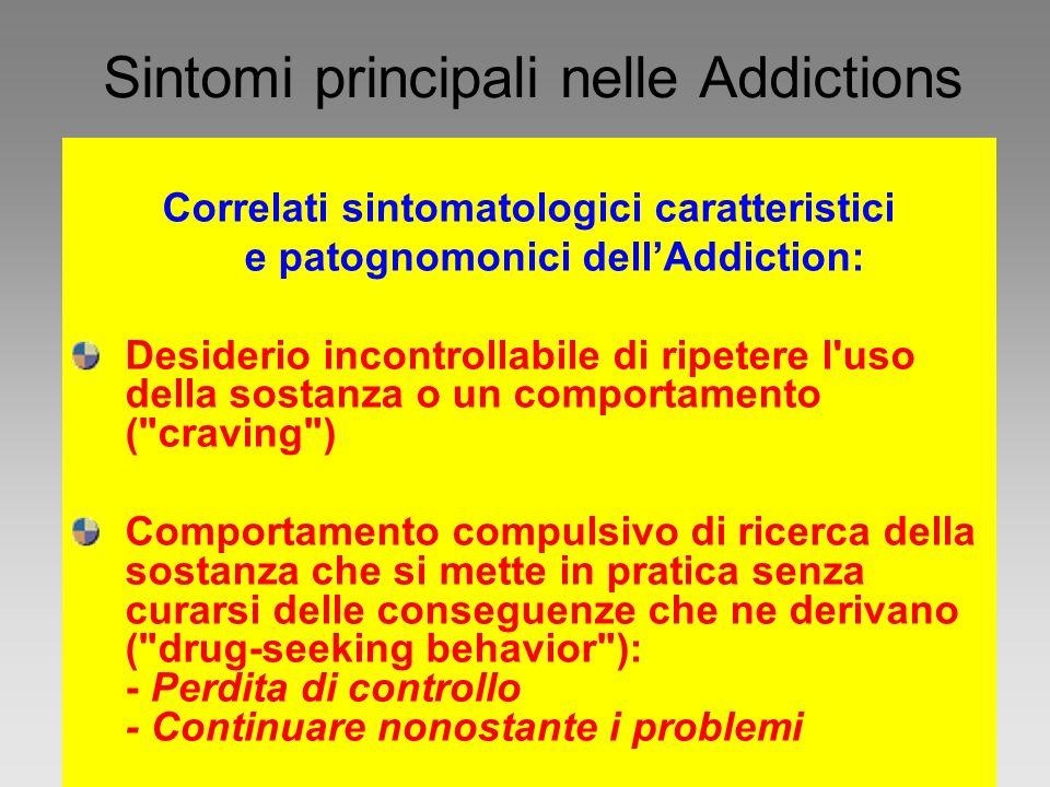 Sintomi principali nelle Addictions Correlati sintomatologici caratteristici e patognomonici dellAddiction: Desiderio incontrollabile di ripetere l'us