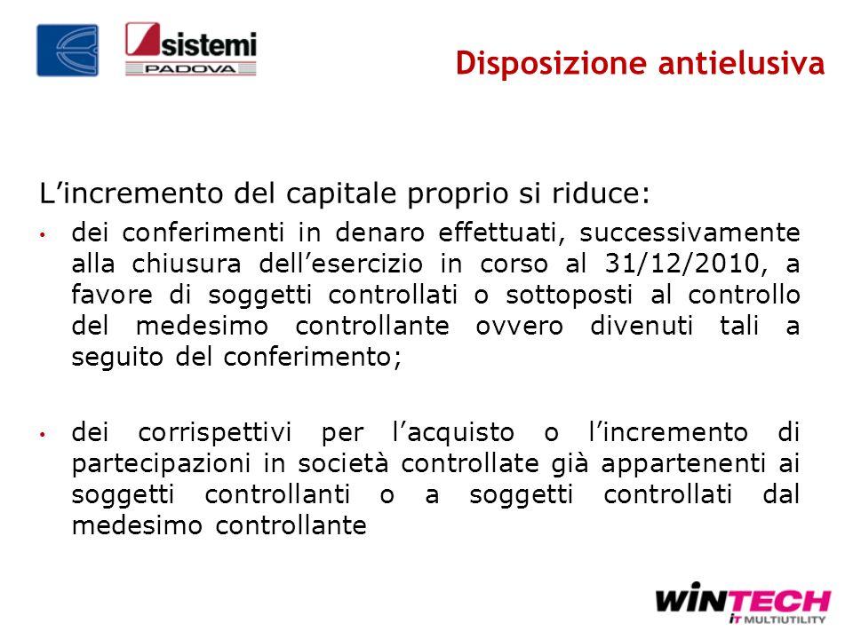 Lincremento del capitale proprio si riduce: dei conferimenti in denaro effettuati, successivamente alla chiusura dellesercizio in corso al 31/12/2010,