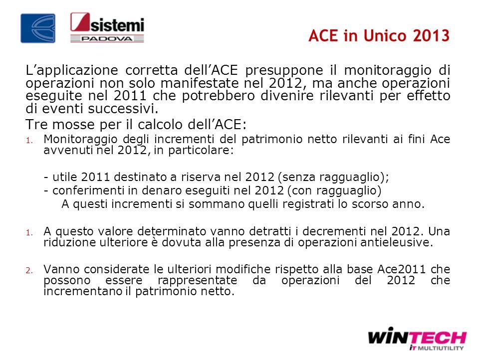 ACE in Unico 2013 Lapplicazione corretta dellACE presuppone il monitoraggio di operazioni non solo manifestate nel 2012, ma anche operazioni eseguite
