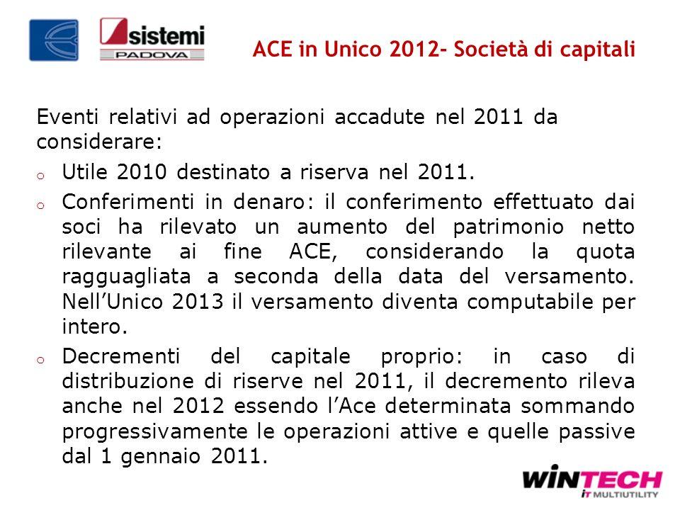 ACE in Unico 2012- Società di capitali Eventi relativi ad operazioni accadute nel 2011 da considerare: o Utile 2010 destinato a riserva nel 2011. o Co