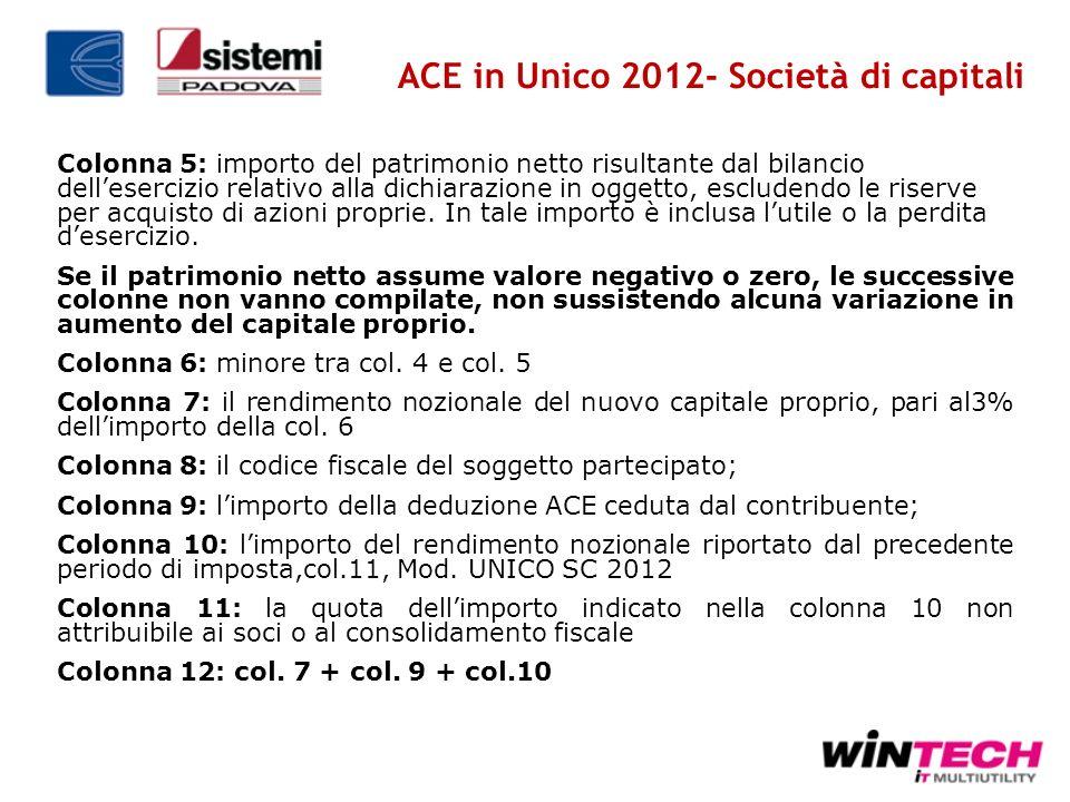 Colonna 5: importo del patrimonio netto risultante dal bilancio dellesercizio relativo alla dichiarazione in oggetto, escludendo le riserve per acquis