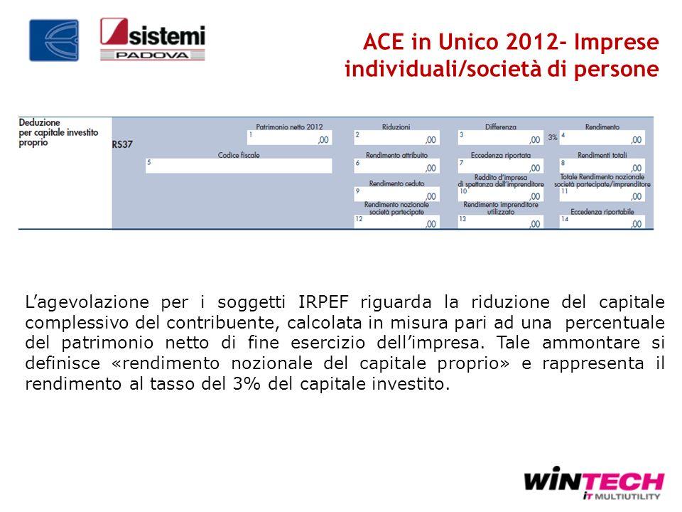 ACE in Unico 2012- Imprese individuali/società di persone Lagevolazione per i soggetti IRPEF riguarda la riduzione del capitale complessivo del contri