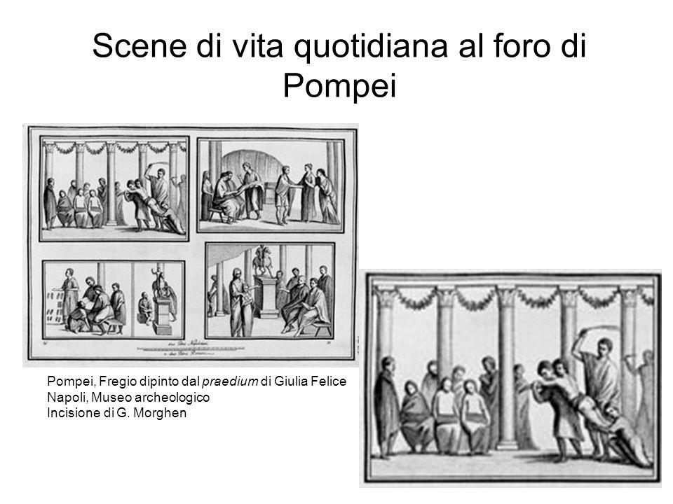 Scene di vita quotidiana al foro di Pompei Pompei, Fregio dipinto dal praedium di Giulia Felice Napoli, Museo archeologico Incisione di G.