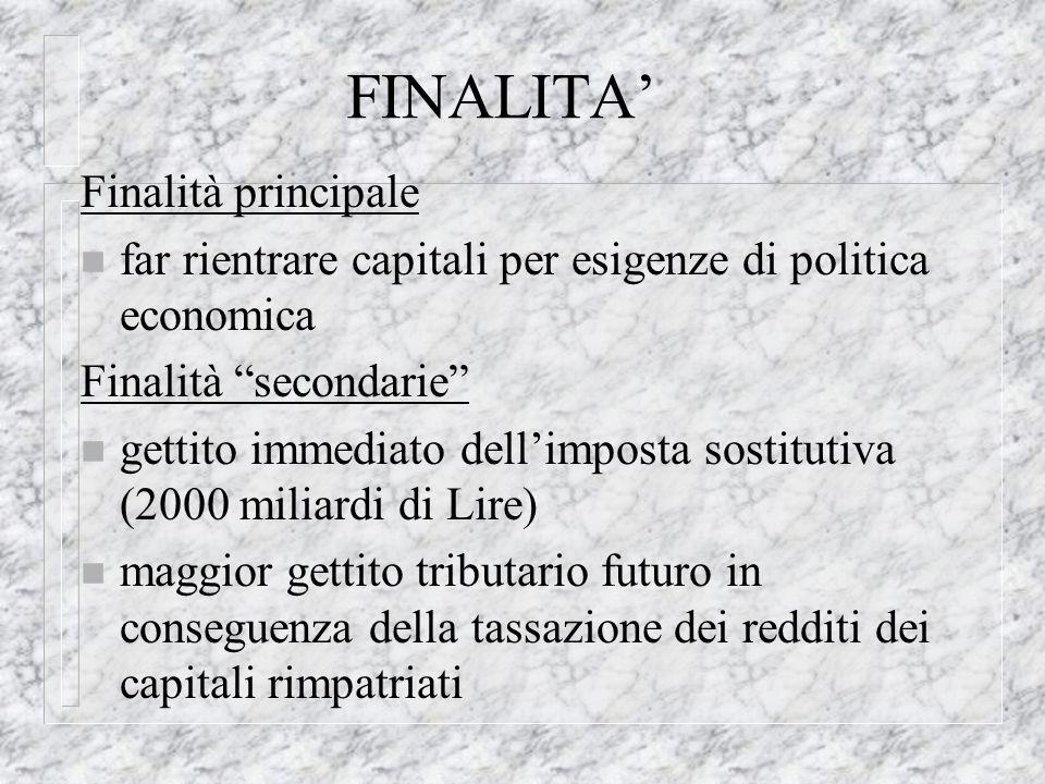 FINALITA Finalità principale n far rientrare capitali per esigenze di politica economica Finalità secondarie n gettito immediato dellimposta sostituti