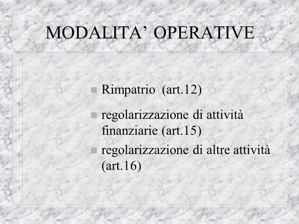 MODALITA OPERATIVE n Rimpatrio (art.12) n regolarizzazione di attività finanziarie (art.15) n regolarizzazione di altre attività (art.16)