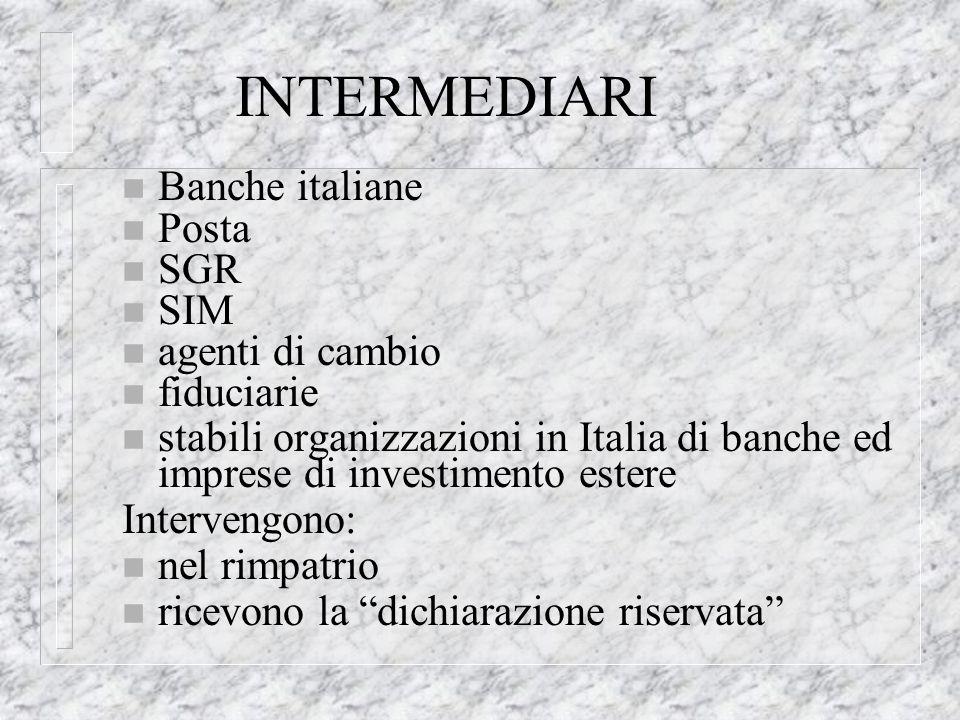 INTERMEDIARI n Banche italiane n Posta n SGR n SIM n agenti di cambio n fiduciarie n stabili organizzazioni in Italia di banche ed imprese di investimento estere Intervengono: n nel rimpatrio n ricevono la dichiarazione riservata
