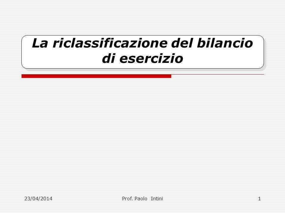 23/04/2014 La riclassificazione del bilancio di esercizio Prof. Paolo Intini1