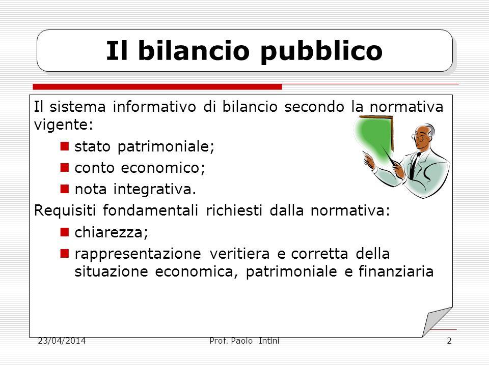23/04/2014 Il bilancio pubblico Il sistema informativo di bilancio secondo la normativa vigente: stato patrimoniale; conto economico; nota integrativa.