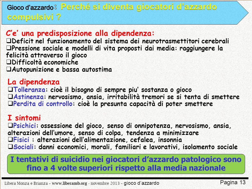 Libera Monza e Brianza – www.liberamb.org - novembre 2013 – gioco dazzardo Pagina 13 Ce una predisposizione alla dipendenza: Deficit nel funzionamento