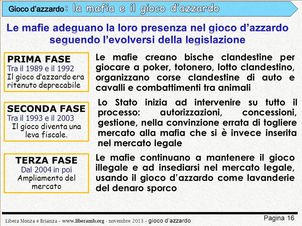 Libera Monza e Brianza – www.liberamb.org - novembre 2013 – gioco dazzardo Pagina 16 PRIMA FASE Tra il 1989 e il 1992 Il gioco dazzardo era ritenuto d