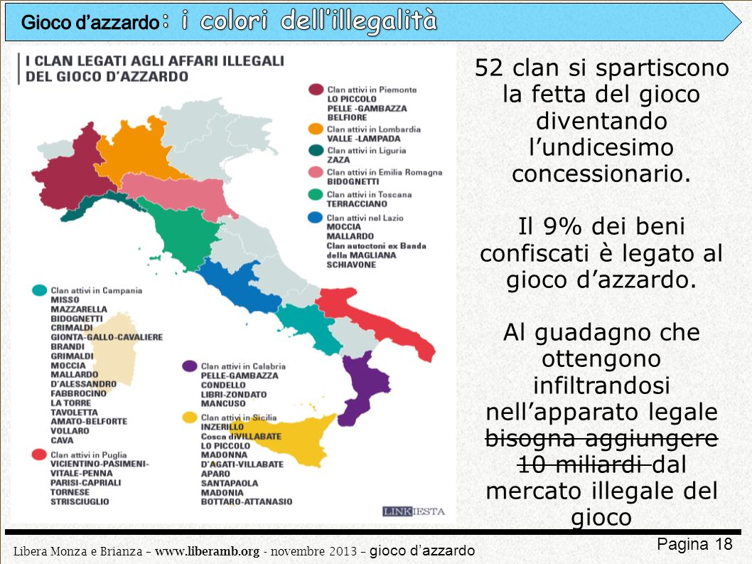 Libera Monza e Brianza – www.liberamb.org - novembre 2013 – gioco dazzardo Pagina 18 52 clan si spartiscono la fetta del gioco diventando lundicesimo