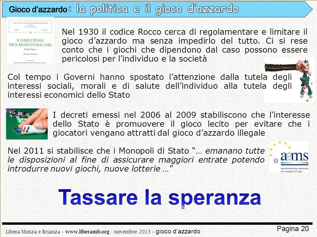 Libera Monza e Brianza – www.liberamb.org - novembre 2013 – gioco dazzardo Pagina 20 Nel 1930 il codice Rocco cerca di regolamentare e limitare il gio