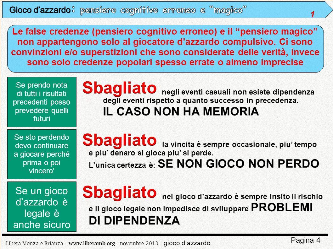 Libera Monza e Brianza – www.liberamb.org - novembre 2013 – gioco dazzardo Pagina 4 Le false credenze (pensiero cognitivo erroneo) e il pensiero magic
