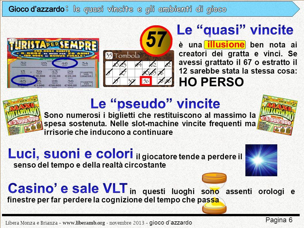 Libera Monza e Brianza – www.liberamb.org - novembre 2013 – gioco dazzardo Pagina 6 è una illusione ben nota ai creatori dei gratta e vinci. Se avessi