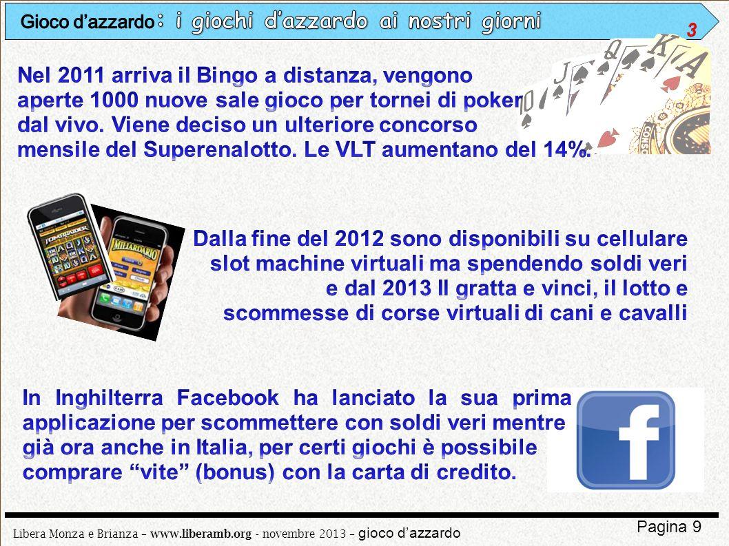 Libera Monza e Brianza – www.liberamb.org - novembre 2013 – gioco dazzardo Pagina 20 Nel 1930 il codice Rocco cerca di regolamentare e limitare il gioco dazzardo ma senza impedirlo del tutto.