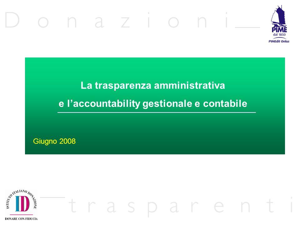 La trasparenza amministrativa e laccountability gestionale e contabile Giugno 2008