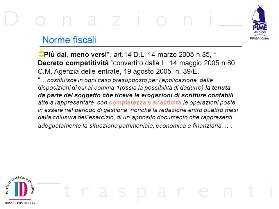 Più dai, meno versi, art.14 D.L 14 marzo 2005 n.35, Decreto competitività convertito dalla L. 14 maggio 2005 n.80. C.M. Agenzia delle entrate, 19 agos