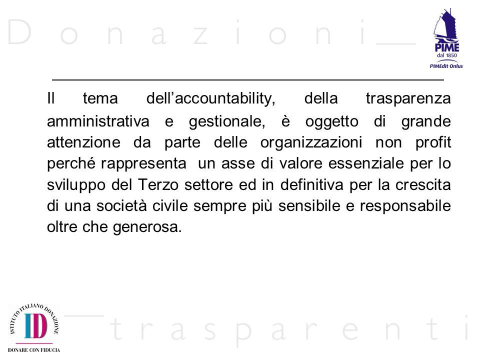Il tema dellaccountability, della trasparenza amministrativa e gestionale, è oggetto di grande attenzione da parte delle organizzazioni non profit per