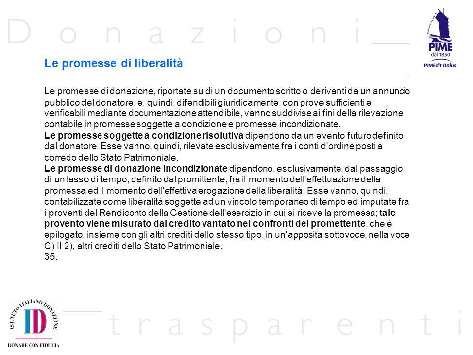 Le promesse di liberalità Le promesse di donazione, riportate su di un documento scritto o derivanti da un annuncio pubblico del donatore, e, quindi,
