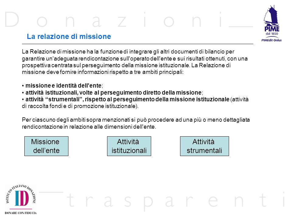La relazione di missione La Relazione di missione ha la funzione di integrare gli altri documenti di bilancio per garantire un adeguata rendicontazione sull operato dell ente e sui risultati ottenuti, con una prospettiva centrata sul perseguimento della missione istituzionale.