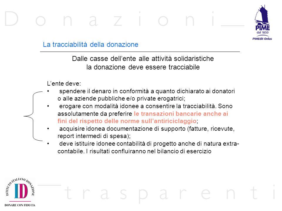 La tracciabilità della donazione Dalle casse dellente alle attività solidaristiche la donazione deve essere tracciabile Lente deve: spendere il denaro