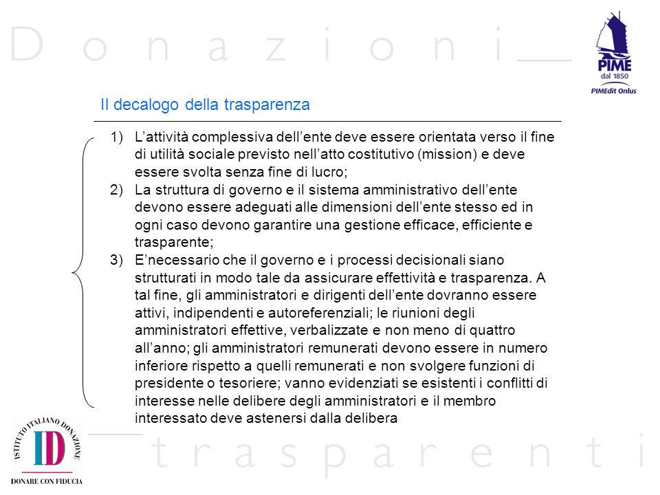 Il decalogo della trasparenza 1)Lattività complessiva dellente deve essere orientata verso il fine di utilità sociale previsto nellatto costitutivo (m