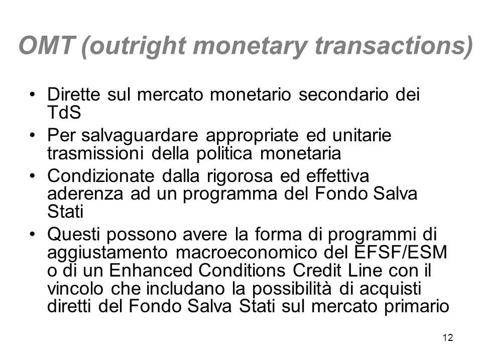 12 OMT (outright monetary transactions) Dirette sul mercato monetario secondario dei TdS Per salvaguardare appropriate ed unitarie trasmissioni della