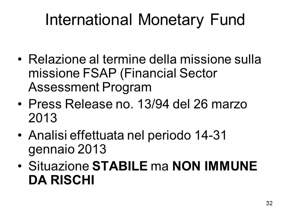32 International Monetary Fund Relazione al termine della missione sulla missione FSAP (Financial Sector Assessment Program Press Release no. 13/94 de