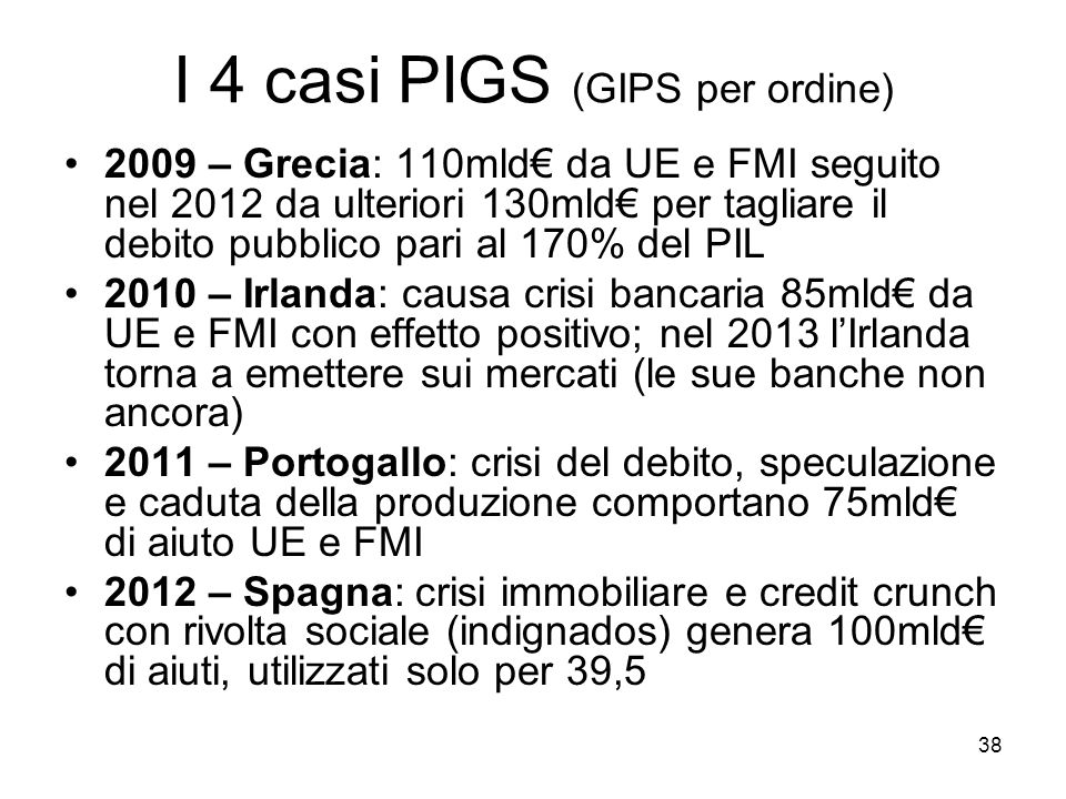 38 I 4 casi PIGS (GIPS per ordine) 2009 – Grecia: 110mld da UE e FMI seguito nel 2012 da ulteriori 130mld per tagliare il debito pubblico pari al 170%