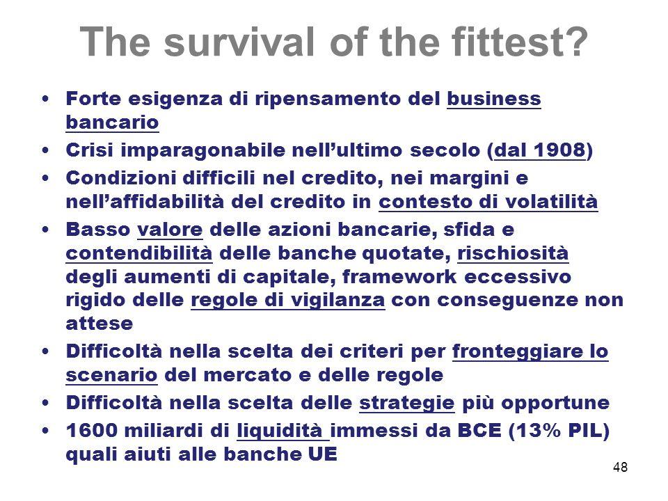 48 The survival of the fittest? Forte esigenza di ripensamento del business bancario Crisi imparagonabile nellultimo secolo (dal 1908) Condizioni diff