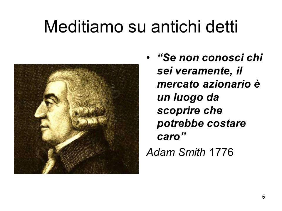 5 Meditiamo su antichi detti Se non conosci chi sei veramente, il mercato azionario è un luogo da scoprire che potrebbe costare caro Adam Smith 1776