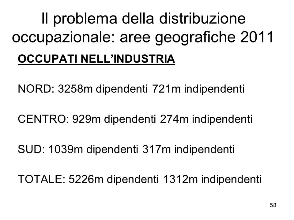 58 Il problema della distribuzione occupazionale: aree geografiche 2011 OCCUPATI NELLINDUSTRIA NORD: 3258m dipendenti 721m indipendenti CENTRO: 929m d